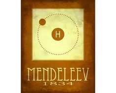 24x36 Mendeleev Poster - Periodic Table of Elements Poster, Rock Star Scientist Art, Hydrogen Diagram, Chemical Element, Nerdy Chemistry Art