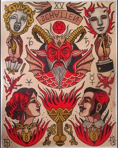 """XV - The Devil"" - The Major Arcana Tarot Flash - Sebastian Domaschke Traditional Tattoo Old School, Traditional Tattoo Design, Traditional Tattoo Flash, Tattoo Flash Sheet, Tattoo Flash Art, Doodle Tattoo, Tattoo Drawings, Medieval Tattoo, Tarot Tattoo"
