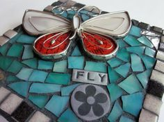 Butterfly. (Contemporary Stained Glass And Polymer Clay Mosaic by Shawn DuBois)