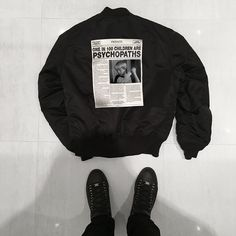 Image Fashion, Black And White Aesthetic, Black White, Psychopath, Hoodies, Sweatshirts, Shirt Designs, Street Wear, Bomber Jacket