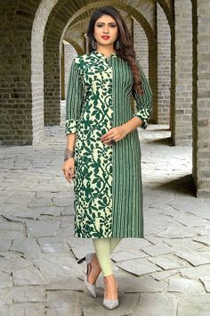 A melange of timeless tradition and contemporary style, this kurti is brought to you by the popular brand. Its kurti is Straight has Beautiful Printed, Collar Neck, Three Fourth Sleeves that adds to its design. Jacket Style Kurti, Angrakha Style, Kurta Designs Women, Blouse Designs, Off White Color, Designer Dresses, Designer Kurtis, Designer Wear, Green Cotton