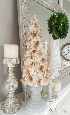 Decorate a Christmas tree with all your favorites (including the children's homemade ornaments) and add a big Merry Christmas banner! You can find the tutorial at diy beautify!