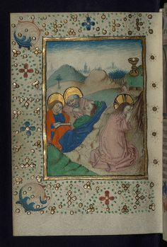 Illuminated Manuscript, Book of Hours in Dutch, Agony in the Garden of Gethsemane, Walters Manuscript W.918, fol. 104v By Walters Art Museum Illuminated Manuscripts☆