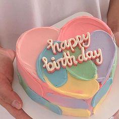 Pretty Birthday Cakes, Pretty Cakes, Beautiful Cakes, Happy Bday Cake, Heart Birthday Cake, Colorful Birthday Cake, Diy Birthday Cake, 22nd Birthday, Rainbow Birthday