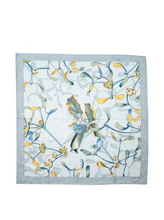 Hermes Women's Carre Scarf, Light Grey/Blue