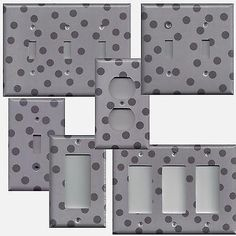 Silver Charoal Gray/Grey Polka Dots Hand Made Light Switch Plates & Outlet Cover - Simply Chic Gal