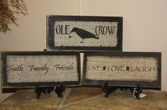 12in Wood & Burlap Crow sign :: Burlap :: Wholesale Country Primitive Gifts/ Kp Home Collection