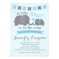 Blue Boy Peanut Elephant Baby Shower invitation Colors can be changed and matching party items and thank you cards can be made. Safari Invitations, Baby Shower Invitations For Boys, Baby Shower Games, Zazzle Invitations, Invitation Ideas, Invitation Design, Invitation Cards, Wedding Invitations, Jennfer Lawrence