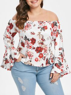 Plus Size Floral Print Flare Sleeve Blouse Plus Size Blouses, Plus Size Tops, Plus Size Women, Crop Top Shirts, Lace Shirts, Scarf Shirt, Fresh Outfits, Fashion Seasons, Blouses For Women