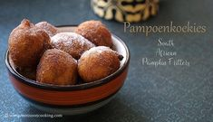 Eggless Pampoen Koekies - Famous South African dessert made with Pumpkin puree. These fritters are mildly sweetened and can be served with powdered sugar. Finger Food Appetizers, Finger Foods, Appetizer Recipes, South African Desserts, South African Recipes, Pumpkin Fritters, Oil For Deep Frying, Pumpkin Puree, Pumpkin Recipes