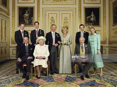Clarence House official handout photo of the Prince of Wales and his new bride Camilla, Duchess of Cornwall, with their families (L-R back row) Prince Harry, Prince William, Tom and Laura Parker Bowles (L-R front row) Duke of Edinburgh, Britain's Queen Elizabeth II and Camilla's father Major Bruce Shand, in the White Drawing Room at Windsor Castle after their wedding ceremony, April 9, 2005 in Windsor, England.