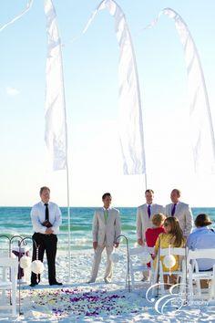 purple and green beach wedding
