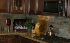 Kitchen Backsplash done in stacked stone - Interior Ideas
