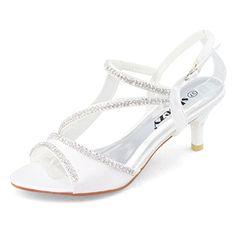 LADIES WHITE KITTEN HEEL SATIN STRAPPY EVENING/PARTY/WEDDING