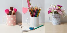 DIY storage: mugs aren't just for tea! They are great for storing makeup, stationery and your favourite flowers.