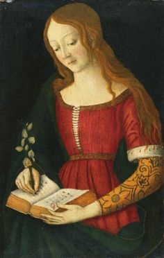 Giacomo Pacchiarotto | Young Lady Writing in an Hymnal. turn of 16thC - Siena