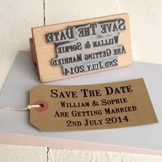 Save the date stamps from the English Stamp Company on Not on the High Street . Com, gorgeous rustic theme