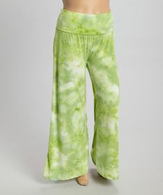 This Green & White Tie-Dye Palazzo Pants - Plus by CANARI is perfect! #zulilyfinds