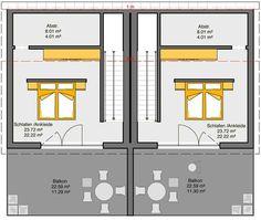Fertighaus Doppelhaus Gemello PD 212 Grundriss DG