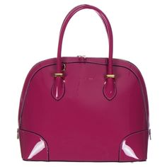 Patent Leather Metal Accents Tote Bag Purple