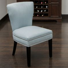 Features:  -Includes 1 dining accent chair.  -Allows you to comfortably sit in any room.  -No assembly required, arrives ready to use.  Chair Design: -Parsons chair.  Upholstered: -Yes.  Hardware Fini