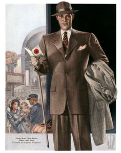1940s Men's Fashion | Men's Suits for Travel from the 1940s | 1940s Fashion Art Prints