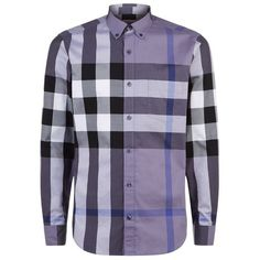 Burberry House Check Shirt ($255) ❤ liked on Polyvore featuring men's fashion, men's clothing, men's shirts, men's casual shirts, mens checkered shirts, burberry mens shirts, mens button down collar shirts, mens cotton shirts and mens tailored shirts