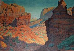 Gunnar Widforss original art work featured in Cave Creek Arizona. Watercolor Landscape, Landscape Art, Landscape Paintings, Watercolor Art, Western Landscape, Vintage Landscape, Southwest Art, Paintings I Love, Types Of Art