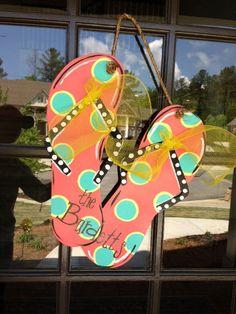 Summertime Flip Flop Door Decoration by KnockinOnWood on Etsy, $40.00