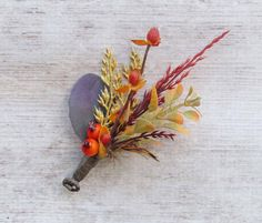 Fall Berry & Wheat Boutonniere for your Rustic Wedding by justanns