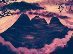 Purple mountains painting