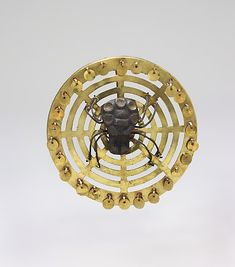 Earflare Frontal, Spider Date: 2nd–3rd century Geography: Peru Culture: Moche (Loma Negra) Medium: Gold, silver