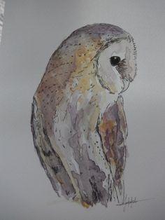 Barnowl painting - original bird painting - watercolour owl