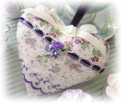 Heart Sachet Sachet Heart PURPLE and IVORY by CharlotteStyle, $13.00
