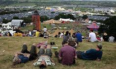 Glastonbury festival site viewed from the hill