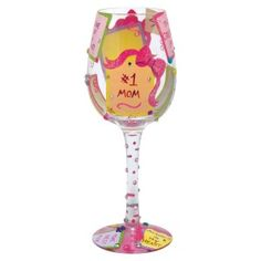 The #1 Mom wine glass from the Lolita's Love My Wine Collection from Santa Barbara Design has a unique recipe hand painted on the bottom of each glass. Original Lolita Yancey design on a 15-ounce wine glass. A great gift for the wine lover, this popular new shape for wine glasses is appropriate for either red or white wine and is the one widely used in California winery tasting rooms. Price: $21.49