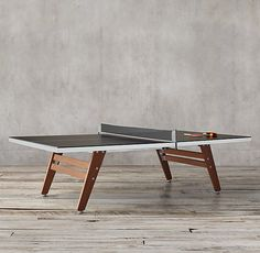 Black Steel & Wood Table Tennis