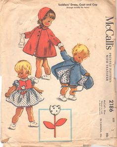 McCalls 2186 1950s Toddlers Dress Lined Coat and Hat Pattern Girls Vintage Sewing Pattern by mbchills, $16.00