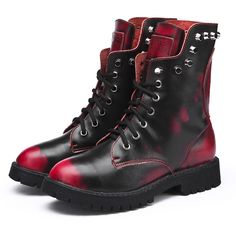 2013 fashion punk Military Army ankle boots women motorcycle boots rivet  genuine leather shoes skull martin boots free shipping $49.00