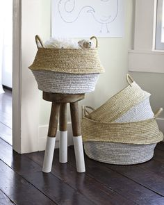 Round Belly Baskets (Set of 2)-- too deep for console (but a good style if we can find something similar)