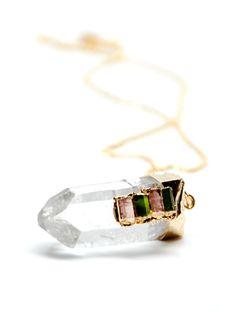 quartz & tourmaline necklace, $46