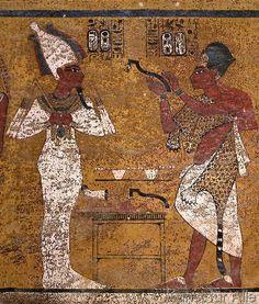 Ägyptische Malerei - Tut-anch-Amun u. König Eje / Wandmalerei