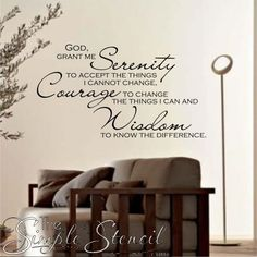 A beautiful custom vinyl wall quote of the popular Serenity prayer. Inspirational Wall Quotes, Vinyl Wall Quotes, Vinyl Wall Decals, Wall Stickers, Serenity Quotes, Serenity Prayer, Custom Vinyl, Custom Wall, Family Room Walls