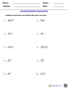 Simplifying Radicals Worksheets