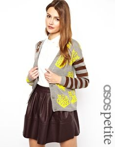 ASOS PETITE Exclusive Owl Cardigan with Striped Sleeves