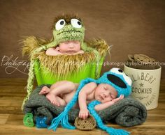 Inspired Cookie Monster & Oscar the Grouch Beanie Perfect for photo props Newborn Thru 6 months size available TWIN PHOTO PROP. $50.00, via Etsy.