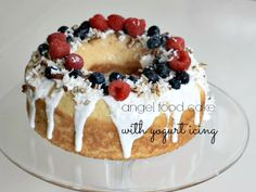Angel food cake with yogurt icing. A 5-minute dessert!