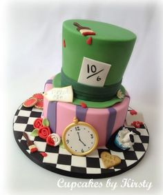 Alice in Wonderland Cake by Kirstywoo Mad Hatter Cake, Mad Hatter Party, Mad Hatter Tea, Alice In Wonderland Birthday, Alice In Wonderland Tea Party, Cupcakes, Cupcake Cakes, Tea Party Birthday, Disney Cakes