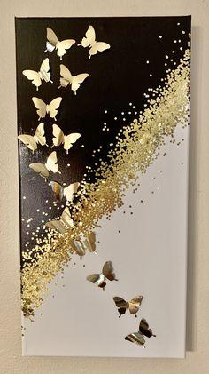 Art Diy, Diy Wall Art, Art Feuille D'or, Art Mural Papillon, Sparkle Paint, Gold Leaf Art, Butterfly Wall Art, Diy Canvas Art, Acrylic Art