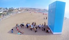 Shadow Wi-Fi, installed on a beach in Peru, will deliver Wi-Fi access only to beach-goers out of the sun's rays